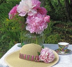 Peony Arrangement in a  Blue Vase peonies, pink peonies,cut peonies, pinks, whites, floral arrangements, Peony Farm,Washington